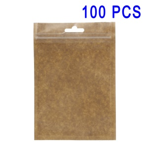 100Pcs/Set Kraft Paper Matte PP Retail Package Zip Lock Bags, Inner Size: 13 x 9.5cm - Brown