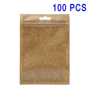 100Pcs/Set Kraft Paper Clear PP Retail Packaging Zip Lock Bags, Inner Size: 13 x 9.5cm - Brown