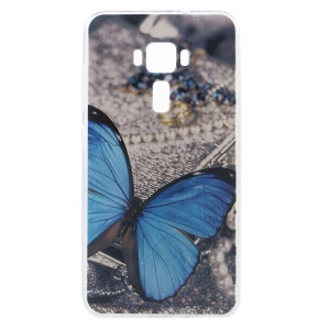 Embossment TPU Cellphone Cover for ASUS ZenFone 3 ZE552KL - Blue Butterfly