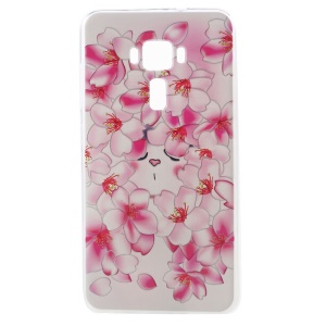 Embossed Pattern TPU Back Cover for ASUS ZenFone 3 ZE552KL - Rose Flowers