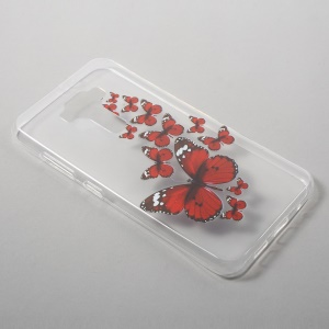 Patterned Gel TPU Cover for Asus Zenfone 3 ZE520KL - Red Butterflies