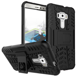 Anti-slip PC + TPU Hybrid Case with Kickstand for Asus Zenfone 3 ZE552KL - Black