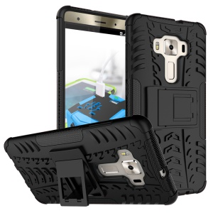 Anti-slip PC + TPU Hybrid Case with Kickstand for Asus Zenfone 3 Deluxe ZS570KL - Black