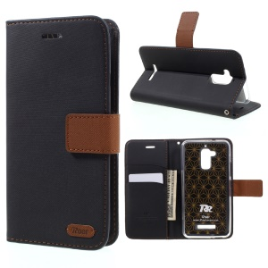 ROAR KOREA Twill Grain Leather Wallet Case for Asus Zenfone 3 Max ZC520TL - Black