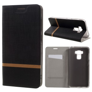 Cross Texture Leather Card Holder Case for Asus Zenfone 3 Max ZC553KL - Black
