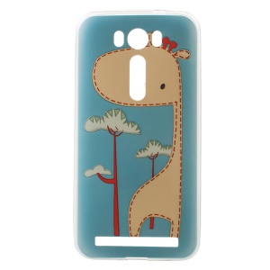 Softlyfit Embossing TPU Back Case for Asus Zenfone 2 Laser ZE500KG ZE500KL - Cute Giraffe