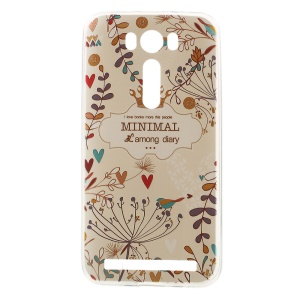 Softlyfit TPU Embossing Cover for Asus Zenfone 2 Laser ZE500KG ZE500KL - Colored Plants