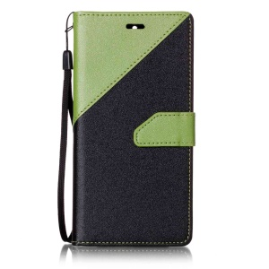 Bi-color Splicing Leather Mobile Casing Wallet for Asus Zenfone 3 Max ZC520TL - Green