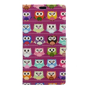 Patterned Leather Wallet Case Accessory for Asus Zenfone 3 Max ZC553KL - Mini Owls Purple Background