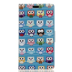Patterned Leather Wallet Case Accessory for Asus Zenfone 3 Max ZC553KL - Mini Owls Cyan Background