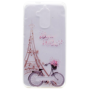 Pattern Printing TPU Shell Case for Asus Zenfone 3 Max ZC520TL - Eiffel Tower and Bicycle
