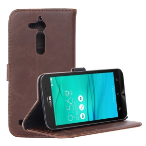 Retro Style Leather Wallet Stand Phone Shell for Asus Zenfone Go ZB500KL - Coffee