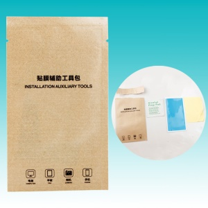 100Pcs/Pack Kraft Paper Tempered Glass Installation Auxiliary Tool (Blue Sticker + Alcohol Prep Pad + Cleaning Cloth)