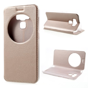 View Window Flip Leather Cell Phone Cover for Asus Zenfone 3 Max ZC553KL - Gold