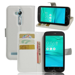 Lychee Skin Leather Wallet Cover for Asus Zenfone Go ZB500KL ZB500KG - White