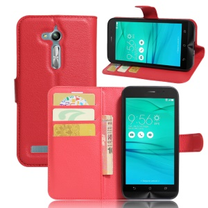 Lychee Skin Leather Wallet Case Cover for Asus Zenfone Go ZB500KL ZB500KG - Red