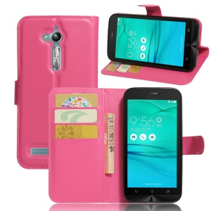 Lychee Skin Leather Wallet Cover Case for Asus Zenfone Go ZB500KL ZB500KG - Rose