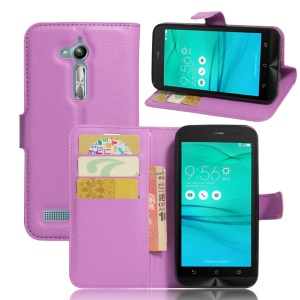 Lychee Skin PU Leather Wallet Case for Asus Zenfone Go ZB500KL ZB500KG - Purple