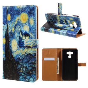 Pattern Printing Leather Wallet Case for Asus Zenfone 3 Max ZC553KL - Starry Night