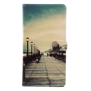 Pattern Printing Leather Wallet Cover for Asus Zenfone 3 Max ZC553KL - Street Light