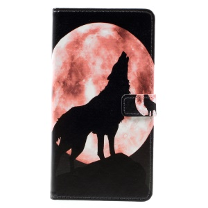 Pattern Printing Leather Wallet Flip Stand Case for Asus Zenfone 3 Max ZC553KL - Wolf Howling at the Moon