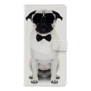 Pattern Printing PU Leather Wallet Case for Asus Zenfone 3 Max ZC553KL - Cool Dog in Glasses