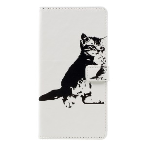 Pattern Printing Leather Flip Case w/ Credit Card Slots for Asus Zenfone 3 Max ZC553KL - Lovely Cat