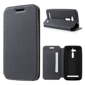 Sand-like Texture Leather Stand Case for Asus Zenfone Go ZB500KL ZB500KG - Black