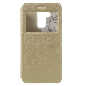 Cross Texture Card Holder Leather Flip Case for Asus Zenfone 3 Max ZC520TL - Gold