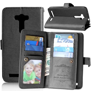 9 Card Slots Wallet Crazy Horse Leather Case for Asus Zenfone 2 Laser ZE550KL - Black