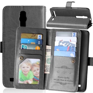 9 ID/Credit Card Slots Crazy Horse Leather Case for Asus Zenfone 2 ZE550ML ZE551ML - Black