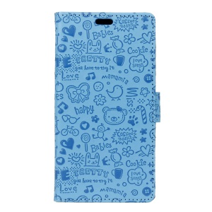Cartoon Graffiti Leather Wallet Mobile Casing for Asus Zenfone Go ZB500KL - Blue