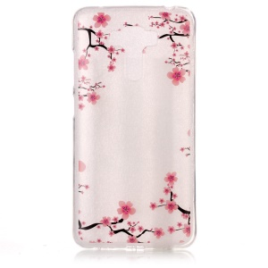 Clear IMD Pattern TPU Case Accessory for Asus Zenfone 3 Laser ZC551KL - Plum Blossom