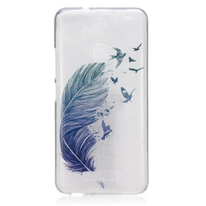 IMD Pattern Clear TPU Phone Cover for Asus Zenfone 3 Max ZC520TL - Feather Birds