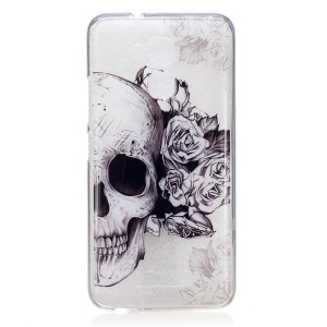 Pattern Printing IMD TPU Case Skin for Asus Zenfone 3 Max ZC520TL - Skull with Roses