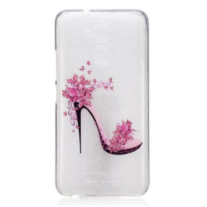 Clear IMD Pattern TPU Mobile Casing for Asus Zenfone 3 Max ZC520TL - Flowered High Heel