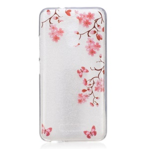 Patterned IMD Case TPU Cover for Asus Zenfone 3 Max ZC520TL - Red Flowers and Butterflies