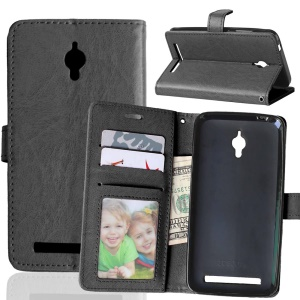 Crazy Horse Leather Wallet Case for Asus Zenfone Go ZC500TG - Black