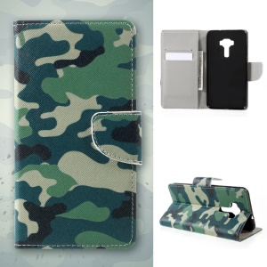 Pattern Printing Leather Wallet Mobile Casing for Asus Zenfone 3 Max ZC553KL - Camouflage Pattern