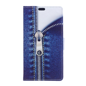 Patterned Leather Wallet Phone Cover for Asus Zenfone Go ZB500KL - Jeans with Zipper