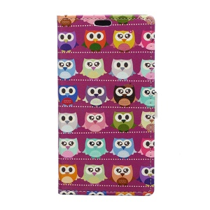 Patterned Leather Wallet Phone Cover for Asus Zenfone Go ZB500KL - Mini Owls Purple Background