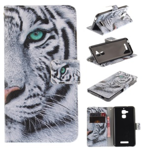 Patterned Leather Wallet Stand Cover Case for Asus Zenfone 3 Max ZC520TL - Tiger