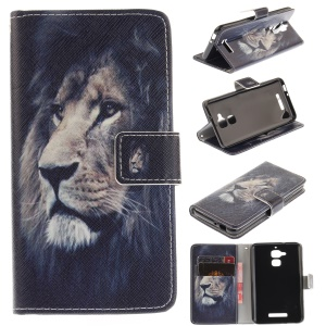 Printing Pattern Wallet Leather Shell for Asus Zenfone 3 Max ZC520TL - Lion