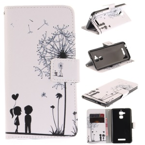 Wallet Leather Patterned Cellphone Cover for Asus Zenfone 3 Max ZC520TL - Lovers and Dandelion