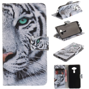 Pattern Printing Wallet Leather Stand Mobile Case for Asus Zenfone 3 ZE520KL - Tiger