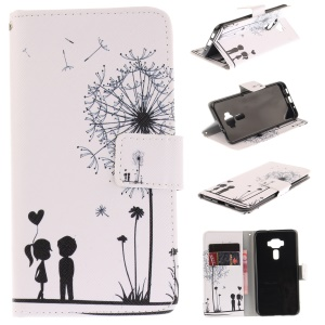 Wallet Leather Patterned Case with Stand for Asus Zenfone 3 ZE520KL - Lovers and Dandelion