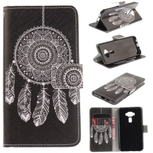 Printing Pattern Leather Wallet Mobile Case Stand for Asus Zenfone 3 ZE520KL - Tribal Dream Catcher