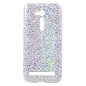 Glitter Sequins Leather Coated PC Shell Case for Asus Zenfone Go ZB500KL - Silver