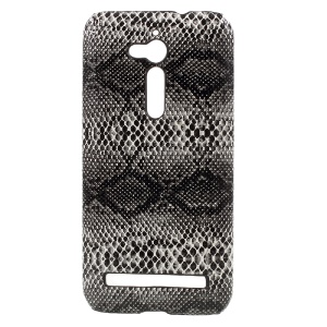Snake Skin Leather Coated PC Cell Phone Case for Asus Zenfone Go ZB500KL - Black