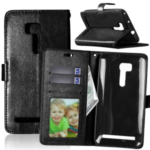 Crazy Horse Wallet Leather Stand Case for Asus ZenFone Go/Go TV ZB551KL - Black